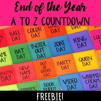 A to Z Countdown FREEBIE