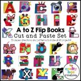 A to Z Alphabet Interactive Flip Books Cut and Paste Set