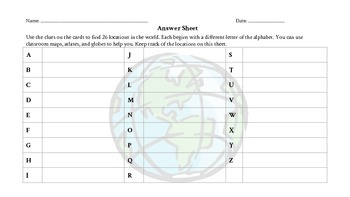 A to Z Geography Scavenger Hunt Task Cards