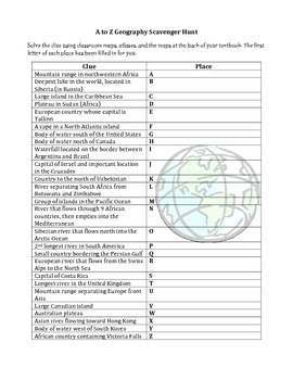 A to Z Geography Scavenger Hunt (makes a great sub plan)
