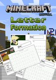 A to Z Handwriting worksheets - Minecraft Themed with reflection box NO PREP