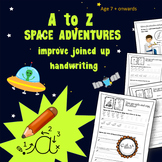 A to Z cursive writing - Space Adventure Worksheets:  7 -11 years, Grade 2 to 6