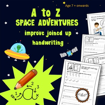A to Z cursive writing - Space Adventure Worksheets:  7 -1
