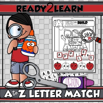 A to Z LETTER MATCH {Uppercase and Lowercase} with Beginning Letter Sounds
