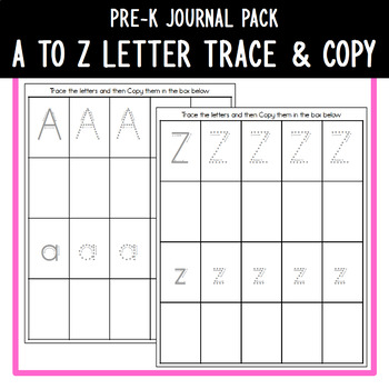 PreK Journal Pack - A to Z Letter Trace & Copy