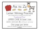 A to Z Letter Writing Practice - Traditional Print Handwriting
