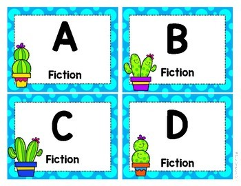 A-to-Z Leveled Classroom Library Labels: Cactus Theme