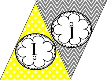 FREE A to Z & 0-9 Make Your Own Gray & Yellow Banner Kit