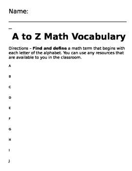 A to Z Math Vocabulary