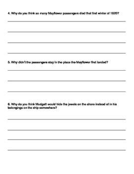 A to Z Mysteries: Mayflower Treasure Hunt Comprehension Questions