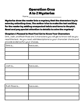 Operation Orca A to Z Mysteries: Let's Read! (Reading Response Packet GR  N)
