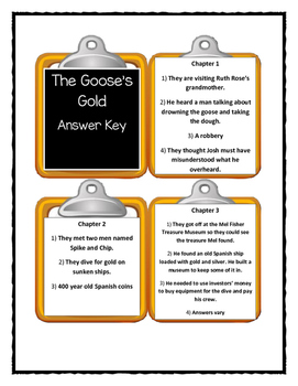 A to Z Mysteries THE GOOSE'S GOLD - Discussion Cards