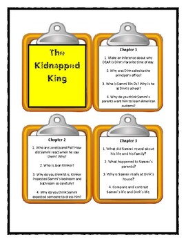 A to Z Mysteries THE KIDNAPPED KING -  Discussion Cards