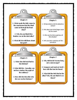 A to Z Mysteries THE ORANGE OUTLAW - Discussion Cards