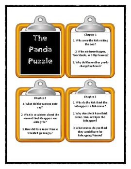 A to Z Mysteries THE PANDA PUZZLE- Discussion Cards