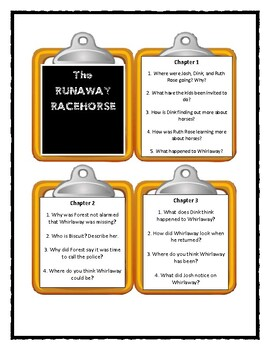 A to Z Mysteries THE RUNAWAY RACEHORSE - Discussion Cards