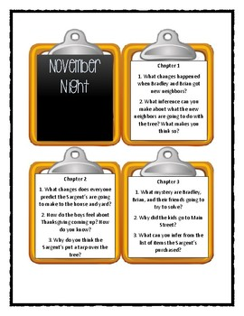 Calendar Mysteries NOVEMBER NIGHT -  Discussion Cards