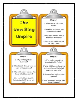 A to Z Mysteries THE UNWILLING UMPIRE Discussion Cards