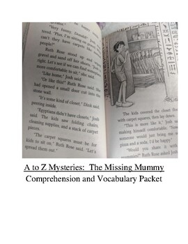 A to Z Mysteries:  The Missing Mummy Comprehension and Vocabulary Packet