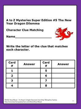 A to Z Mysteries The New Year Dragon Dilemma Book Unit
