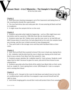 A to Z Mysteries - The Vampire's Vacation - Question & Answer Sheets