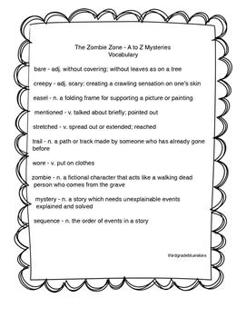 A to Z Mysteries The Zombie Zone vocabulary
