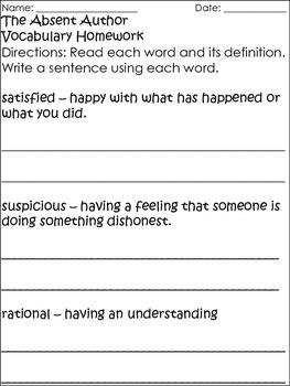 A to Z Mysteries Vocabulary Sentences