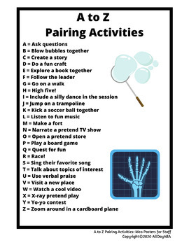A to Z Pairing Activities - Idea Posters for Staff - ABA Therapy