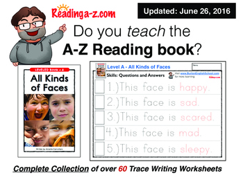 A to Z Readers - Level A Writing Worksheets