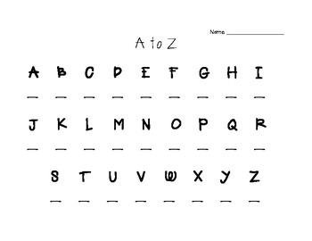 A to Z Recording Sheet