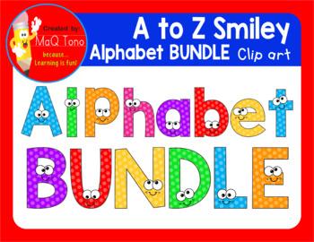 A to Z SMILEY ALPHABET  BUNDLE CLIPART
