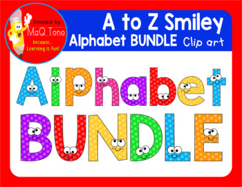 A to Z SMILEY ALPHABET  BUNDLE CLIPART