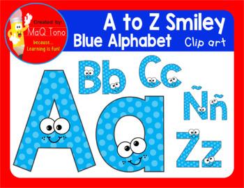 A to Z SMILEY  BLUE ALPHABET CLIPART