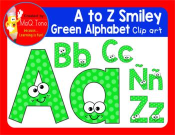 A to Z SMILEY GREEN ALPHABET CLIPART
