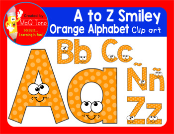 A to Z SMILEY ORANGE ALPHABET CLIPART
