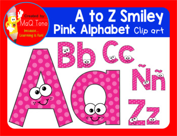 A to Z SMILEY PINK ALPHABET CLIPART