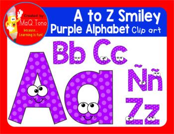 A to Z SMILEY PURPLE ALPHABET CLIPART