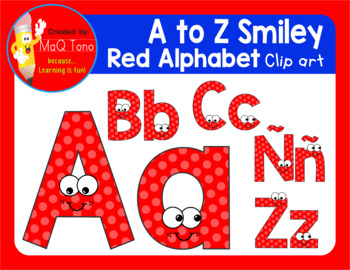 A to Z SMILEY RED ALPHABET CLIPART