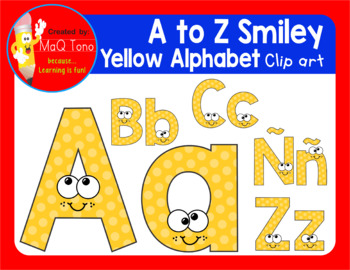 A to Z SMILEY YELLOW ALPHABET CLIPART
