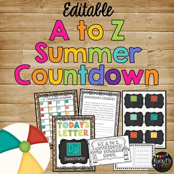 A to Z Summer Countdown Celebration {EDITABLE}, Fun End of Year Activity