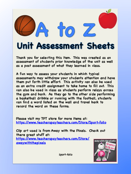 A to Z Unit Assessment Sheet: Domain 1f
