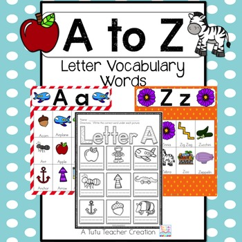 A to Z Vocabulary Cards