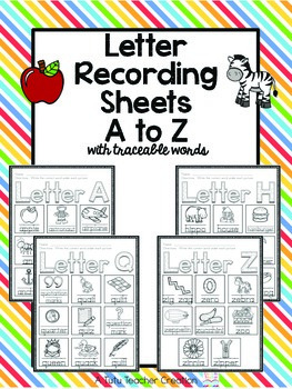 A to Z Vocabulary Cards Recording Sheets