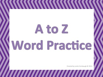 A to Z Word Practice