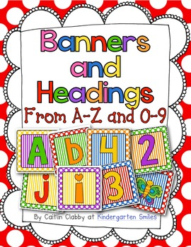 A to Z letters for Bulletin Boards or Banners (Primary Colors)