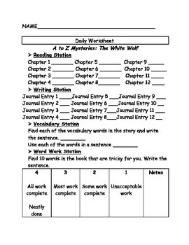 A to Z mysteries: The White Wolf comprehension Questions