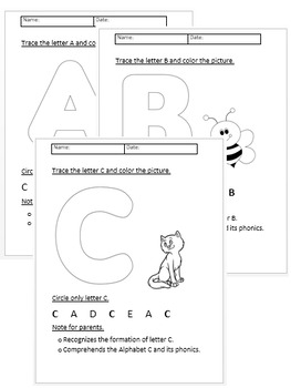 A to Z upper case worksheets.