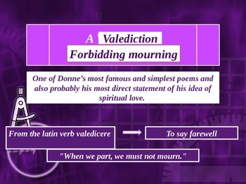 A valediction (forbidding mourning). John Donne