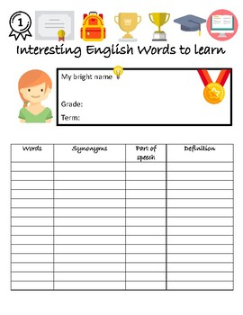 A vocabulary sheet