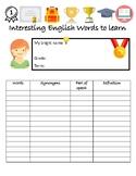 A vocabulary sheet